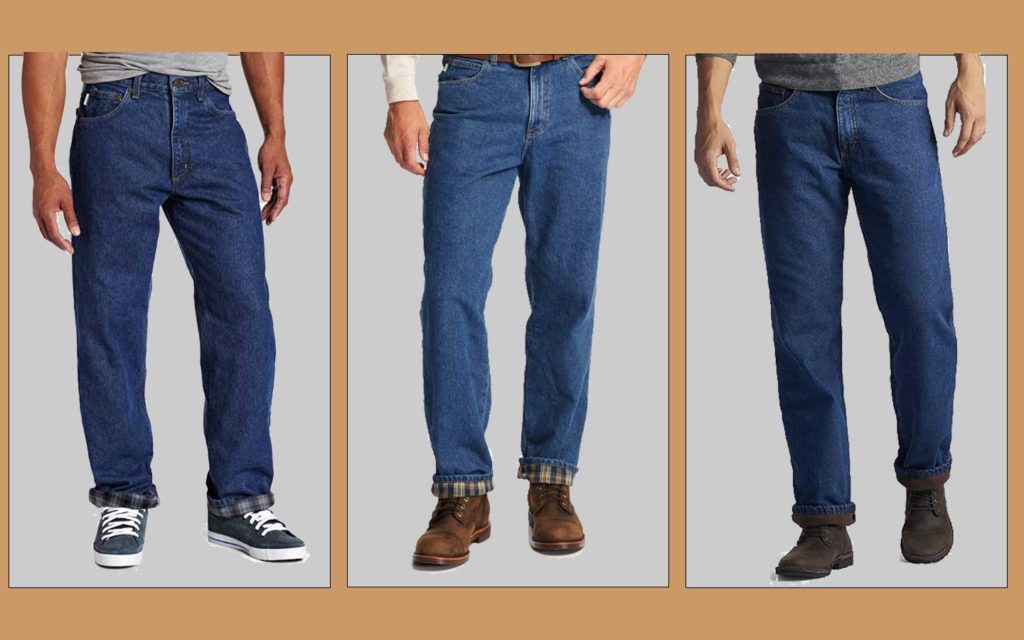 Three images of men's flannel lined pants