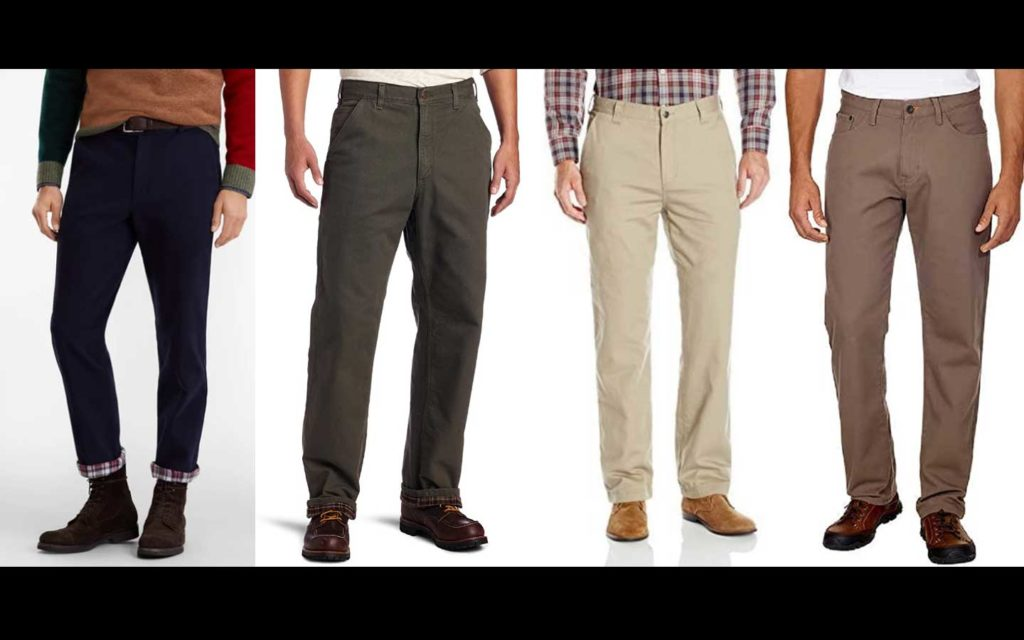 Four images of men's lined pants