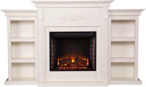 SEI Furniture Southern Enterprises Tennyson Electric Fireplace with Bookcase