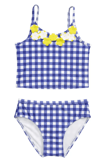2 peice gingham check blue girls swimsuit