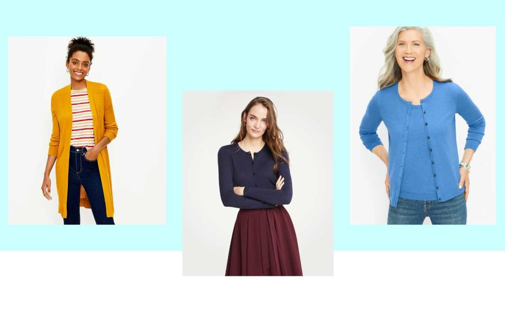 Three examples of women wearing lightweight cardigans