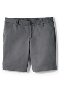 Lands' End Uniform Girls Plain Front Blend Chino Shorts